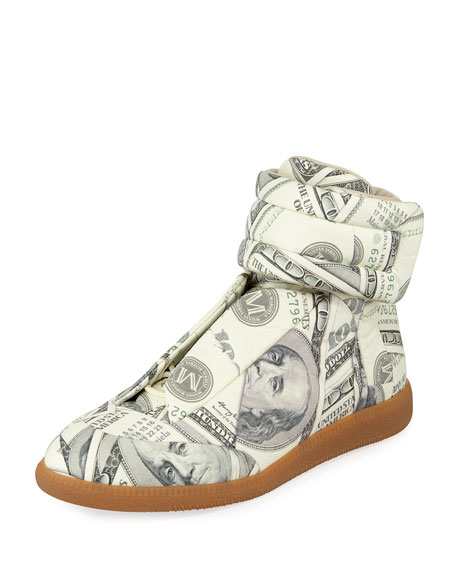 Image 1 of 1: Men's Future Money High-Top Grip Sneakers, Green Pattern
