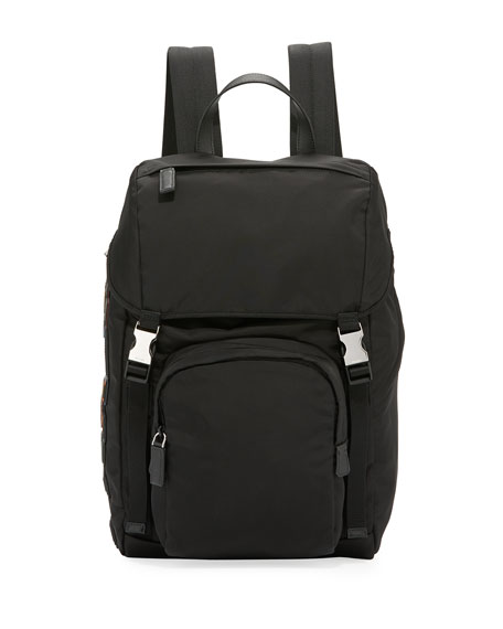 Image 1 of 1: Tessuto Character Logo-Patch Flap-Top Backpack