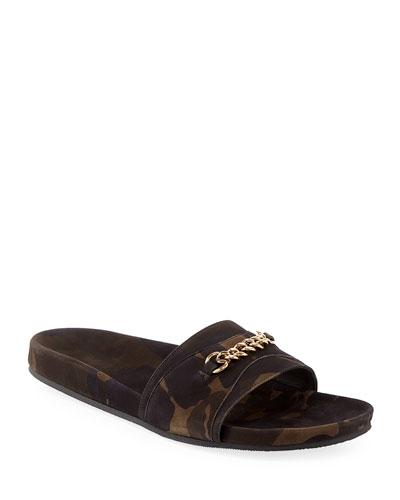 Camouflage Nubuck Leather Slide Sandal