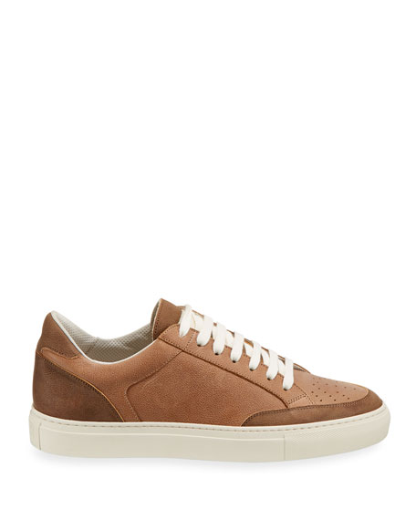 Men's Colorblock Leather Low-Top Sneakers