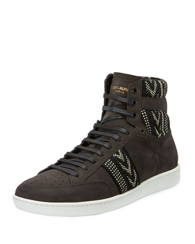 Men's Ikat Suede High-Top Platform Sneakers, Black/White