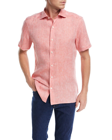 Heathered Linen Short-Sleeve Sport Shirt, Orange