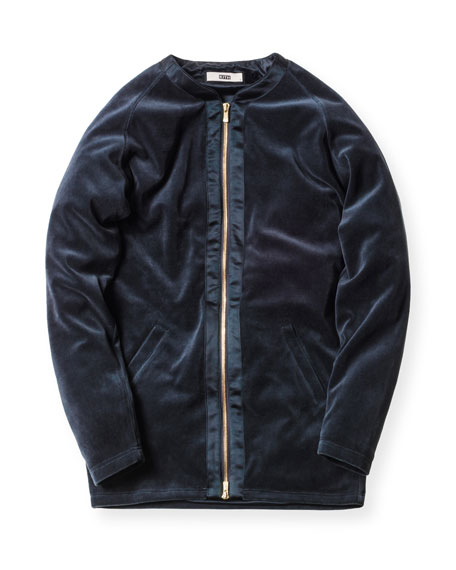 Liddi Velour Zip-Front Jacket, Navy