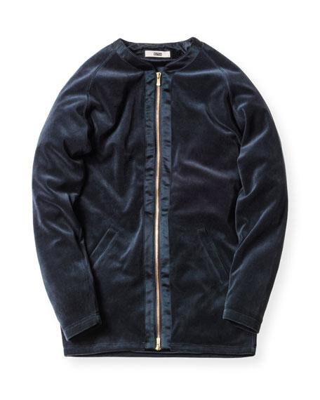 Liddi Velour Zip-Front Jacket, Navy