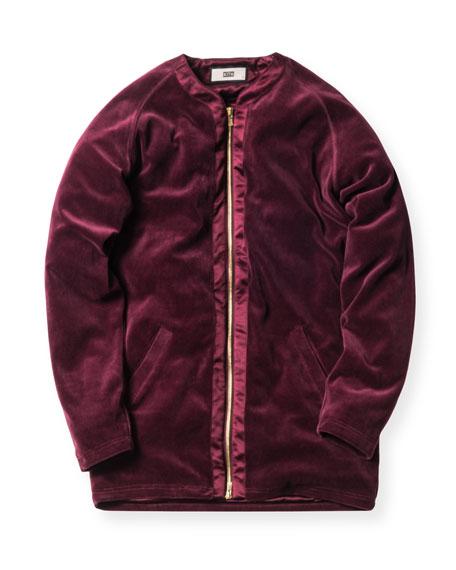 Liddi Velour Zip-Front Jacket, Burgundy