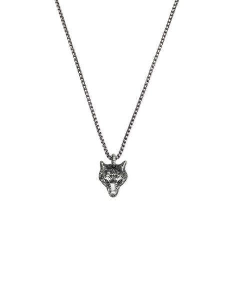 Gucci Men's Wolf Head Sterling Silver Necklace