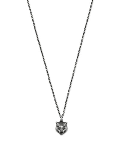 Feline Head Sterling Silver Necklace
