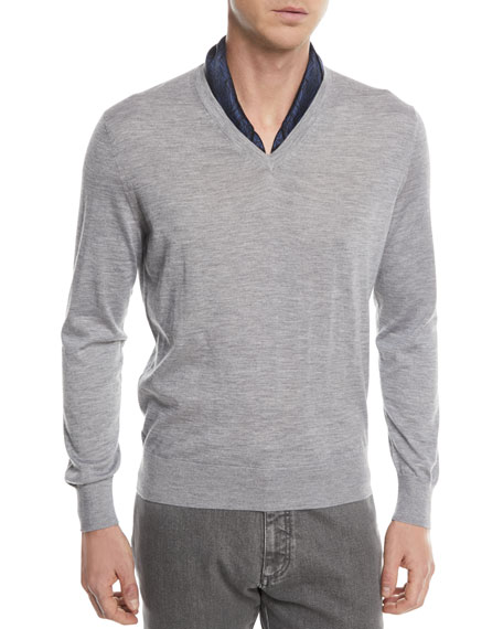 Cashmere-Cotton V-Neck Sweater
