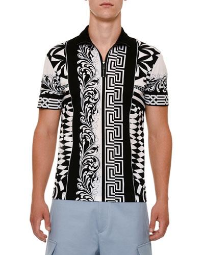 Half-Zip Graphic Polo Shirt