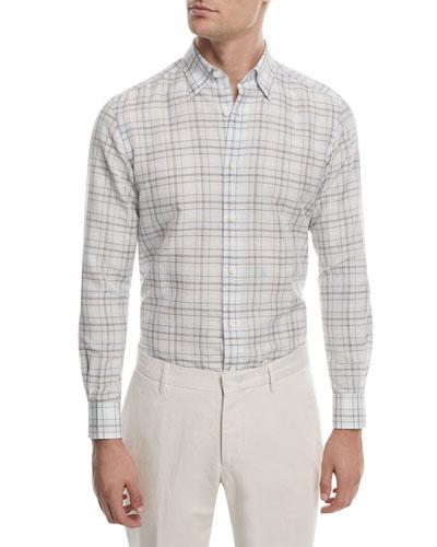 Checked Linen Sport Shirt