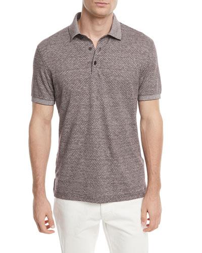 Linen-Blend Micro-Design Polo Shirt