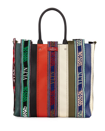 Men's Multi-Striped Graphic Tote