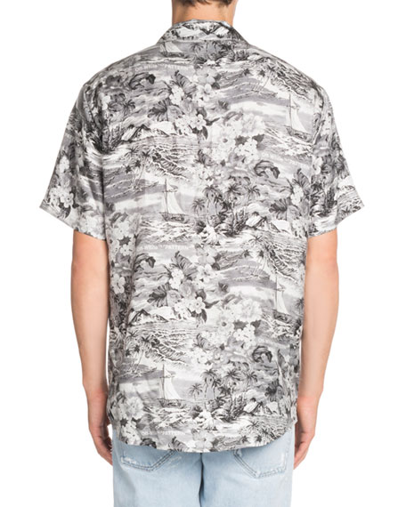 f9727382 Off-White Hawaiian-Print Short-Sleeve Silk Sport Shirt