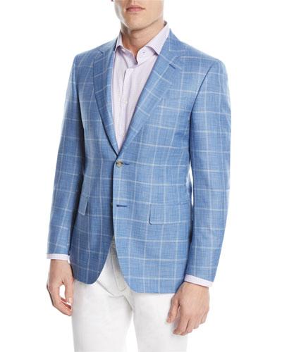 Wool/Silk Windowpane Two-Button Sport Coat