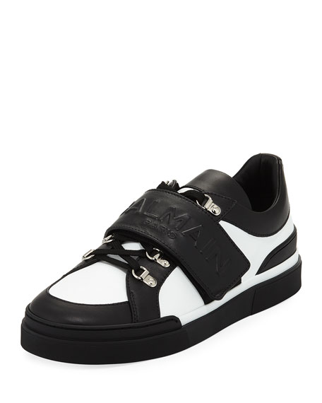 Men's Tricolor Low-Top Leather Sneakers