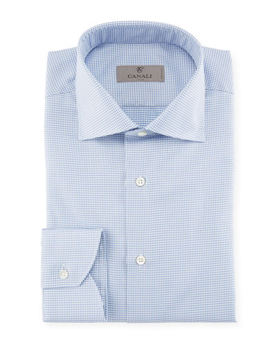 Houndstooth Dress Shirt  Blue