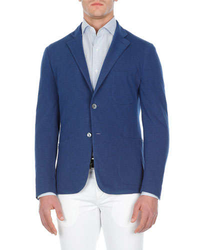 Solid Cotton Piqué Blazer