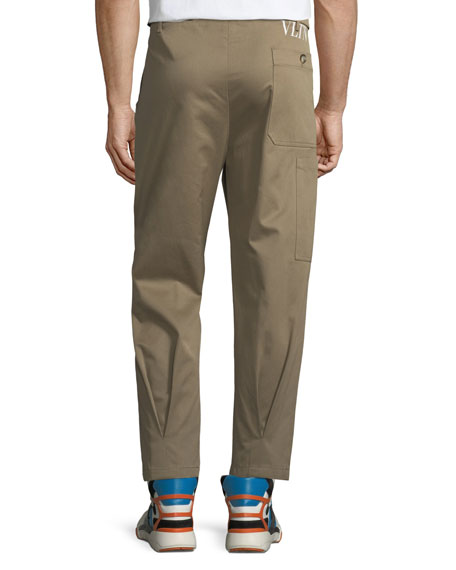 Pleated-Front Gabardine Chino Trousers