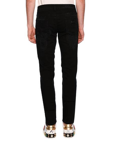 Patched Slim-Fit Denim Jeans