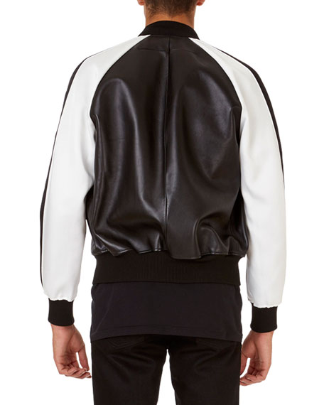Lambskin Bomber Jacket with Contrast Sleeves