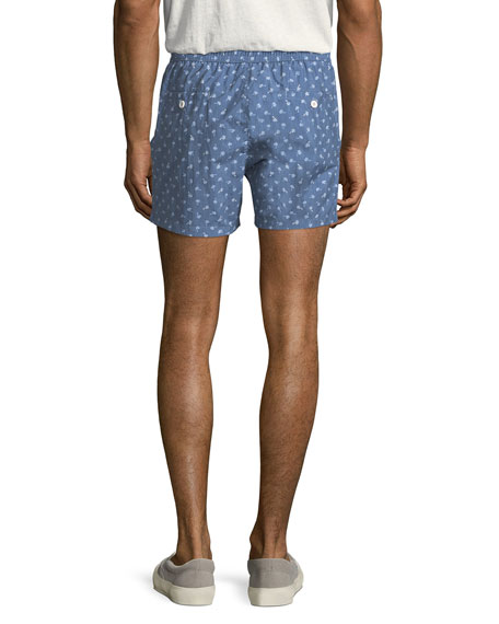 Palm Print Swim Trunks