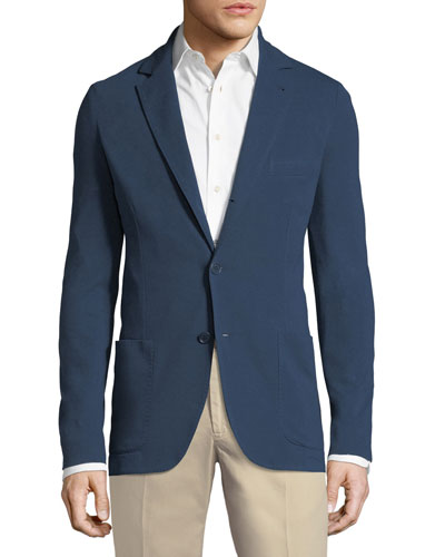 Men's Jersey Piqué Three-Button Sweater Jacket