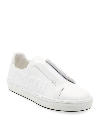 Logo-Embossed Slip-On Low-Top Sneaker, White