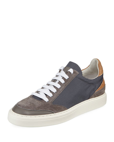 Men's Suede-Trim Low-Top Sneakers