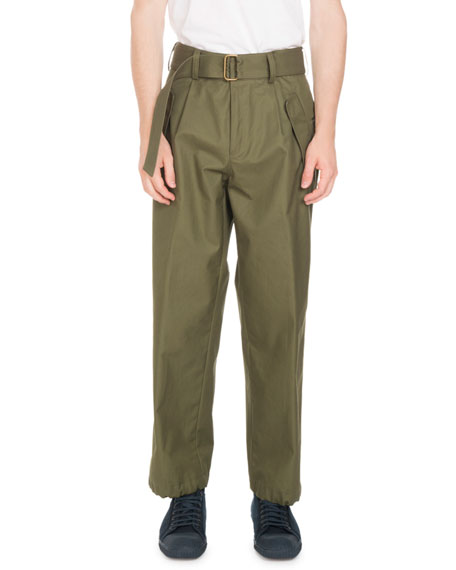 Pyle Belted Straight-Leg Trouser Pants