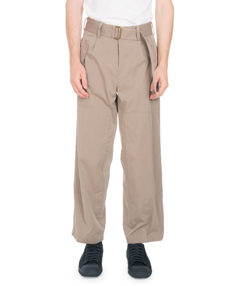 Belted Wide-Leg Trouser Pants, Sand