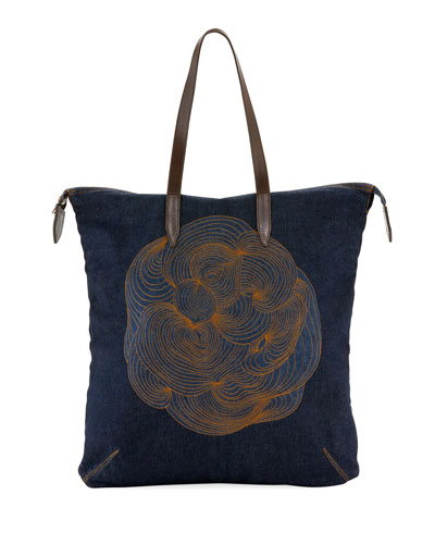 Embroidered Denim Tote Bag