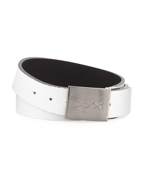 Image 1 of 1: Men's XXX-Plaque Leather Belt