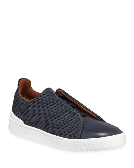 Men's Couture Triple-Stitch Pelle Tessuta Leather Low-Top Sneakers, Navy