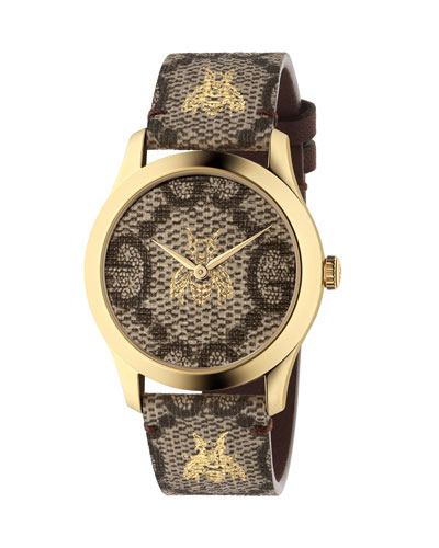 Bee and Logo-Embossed Leather Watch