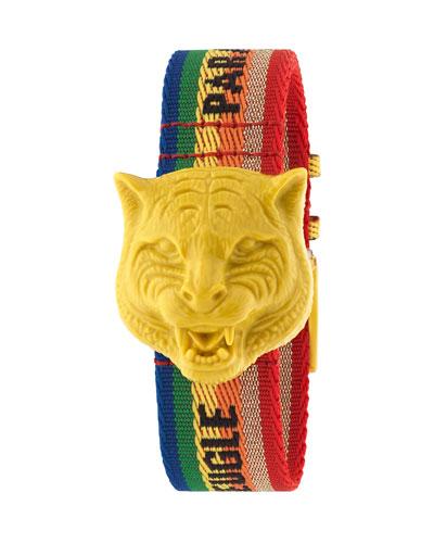 Secret Feline Rainbow-Strap Watch
