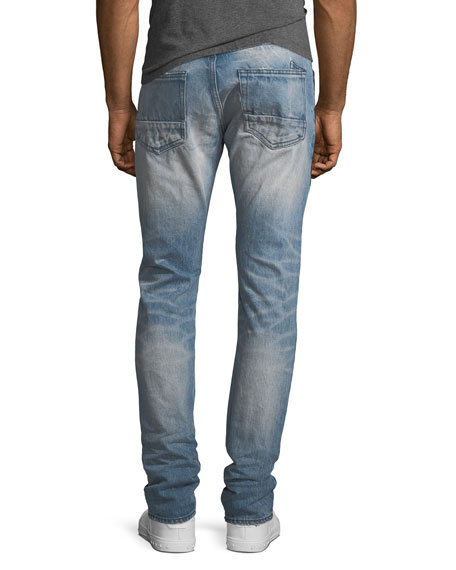 Distressed Straight-Leg Jeans with Multi-Wash Tux Stripe