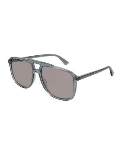 Square Acetate Aviator Sunglasses