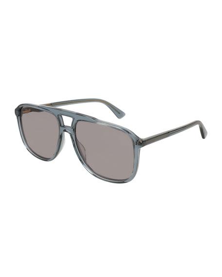 Square Acetate Aviator Sunglasses