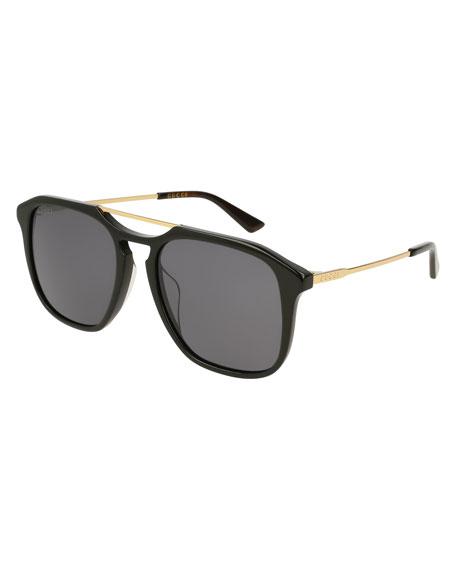 Square Acetate Pilot Sunglasses, Black