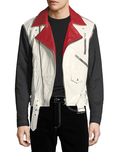 Detachable-Sleeve Leather Moto Jacket
