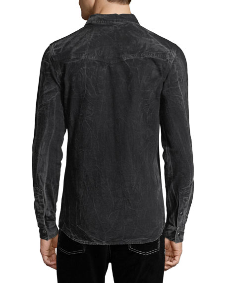 Distressed Snap-Front Pocket Shirt