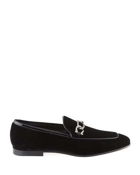 Men's Boy 2 Chain Detail Velvet Loafer