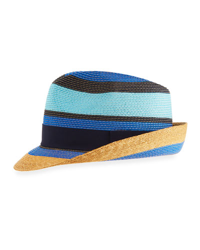 Tricolor Straw Fedora Hat