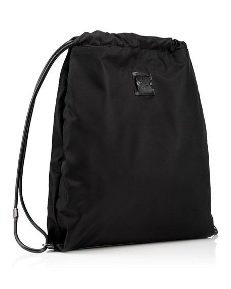 Men's Kaloubi Drawstring Backpack with Leather Trim