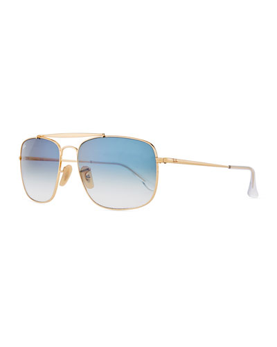 Men's Square Gradient Metal Aviator Sunglasses