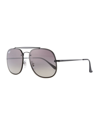 Square Gradient Metal Aviator Sunglasses