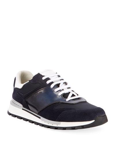 Men's Suede/Leather Low-Top Runner Sneakers  Navy