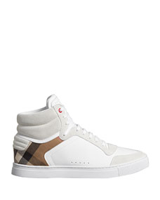 Men's Reeth High Top Leather Sneakers by Burberry