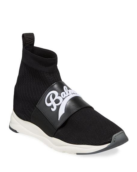 Balmain Men's Cameron Pull-On Logo Sock Running Sneakers