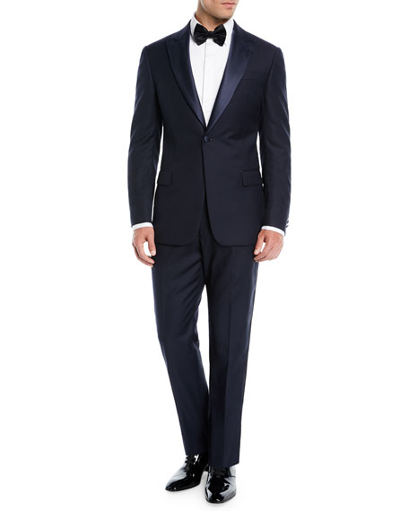 Two-Piece Wool Tuxedo with Satin Peak Lapel, Navy